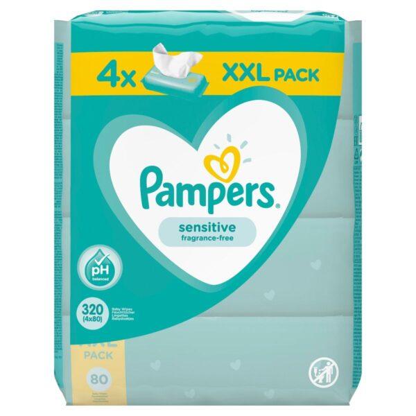 Μωρομάντηλα Pampers Sensitive 320τεμ (4x80τεμ)