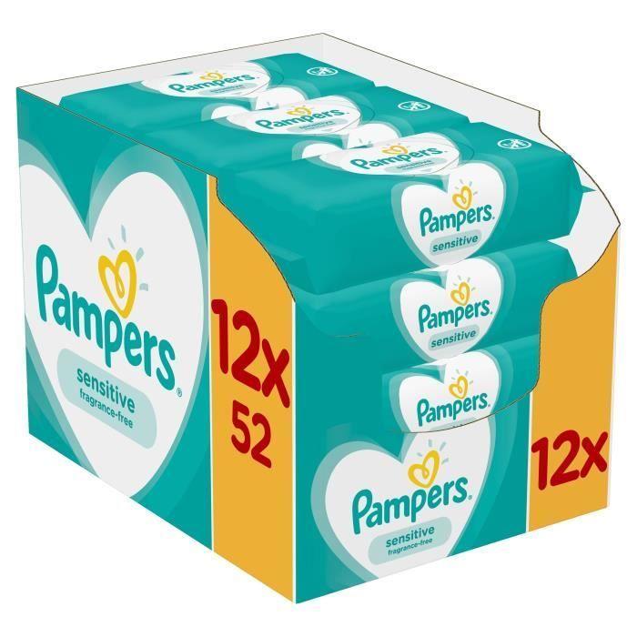 Μωρομάντηλα Pampers Sensitive Monthly Βοx 624τεμ - 12x52τεμ